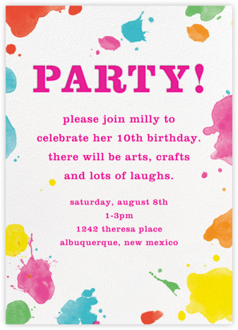 Splatter Paint - Pink - kate spade new york - Online Kids' Birthday Invitations