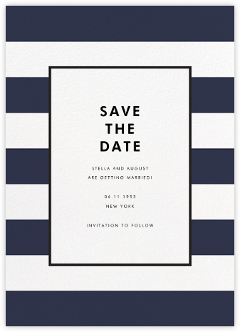 Stripe Suite (Save the Date) - Navy - kate spade new york - Kate Spade invitations, save the dates, and cards