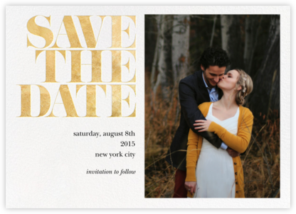 Vintage Book Save the Date (Photo) - Gold - kate spade new york - Kate Spade invitations, save the dates, and cards