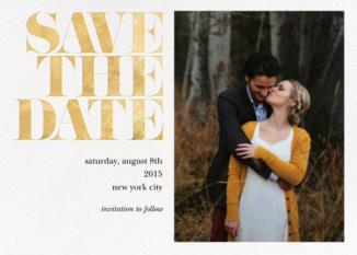 Vintage Book Save the Date (Photo) - Gold