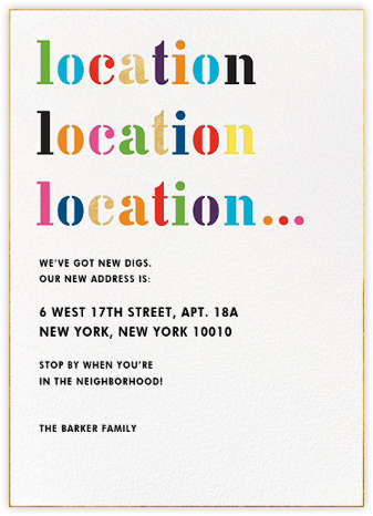 Location Location Location... - kate spade new york - Kate Spade invitations, save the dates, and cards