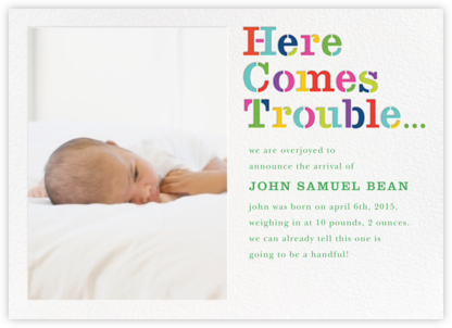Here Comes Trouble (Photo) - kate spade new york - Birth Announcements