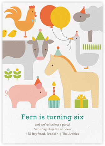 Barnyard Bash - Petit Collage - Kids' birthday invitations