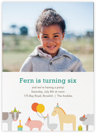 Barnyard Bash (Photo) - Petit Collage - Online Kids' Birthday Invitations