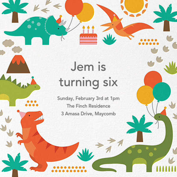 Prehistoric Party - Petit Collage - Kids' birthday invitations