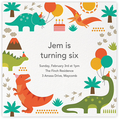 Prehistoric Party - Petit Collage - Kids' birthday invitations