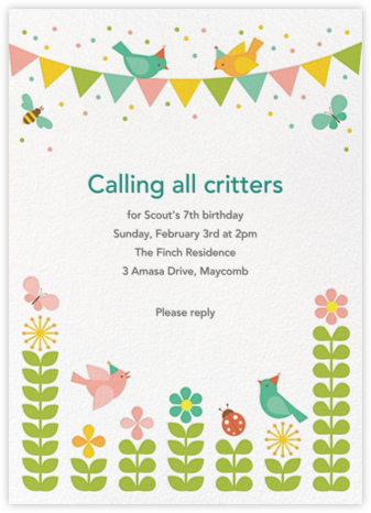 Spring Fling - Petit Collage - Birthday invitations