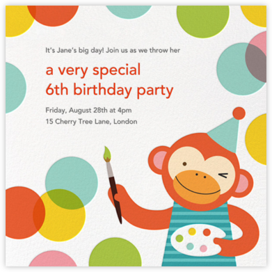 Monkey's Masterpiece - Petit Collage - Kids' birthday invitations