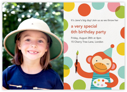 Monkey's Masterpiece (Photo) - Petit Collage - Kids' birthday invitations