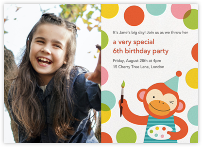 Monkey's Masterpiece (Photo) - Petit Collage - Birthday invitations