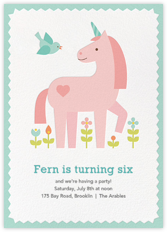 My Little Unicorn - Petit Collage - Kids' birthday invitations