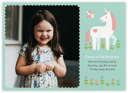 My Little Unicorn (Photo)  - Petit Collage - Online Kids' Birthday Invitations
