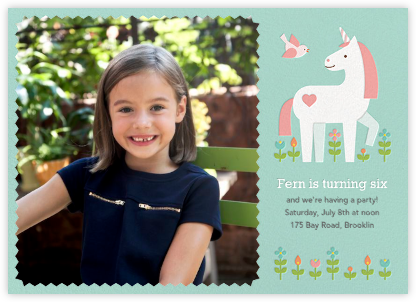 My Little Unicorn (Photo)  - Petit Collage - Kids' birthday invitations