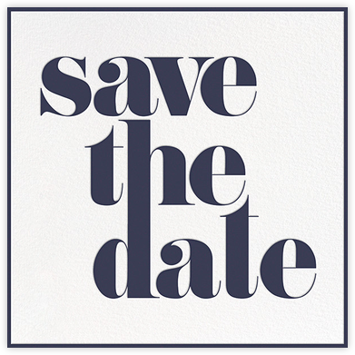 A Golden Date - White/Navy - kate spade new york - Kate Spade invitations, save the dates, and cards