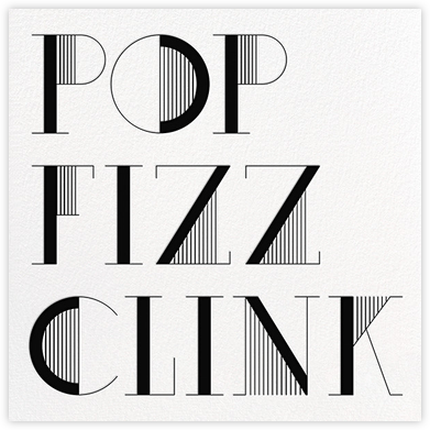 Pop Fizz Clink (Square) - White/Black - kate spade new york - Adult Birthday Invitations