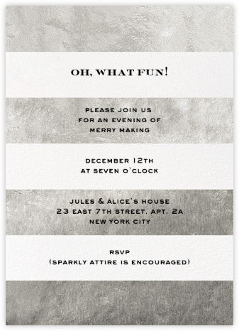 Evergreen Stripes - Silver/White - kate spade new york - Business Party Invitations