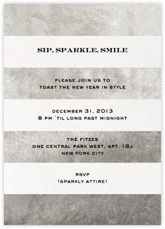 Evergreen Stripes - Silver/White - kate spade new york - New Year's Eve Invitations