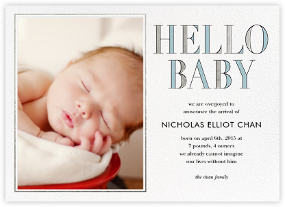 Hello Baby - Blue - kate spade new york - Birth Announcements