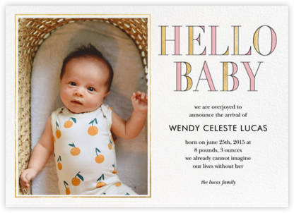 Hello Baby - Pink - kate spade new york - Birth Announcements