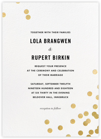 Confetti (Invitation) - White/Gold - kate spade new york - Kate Spade invitations, save the dates, and cards