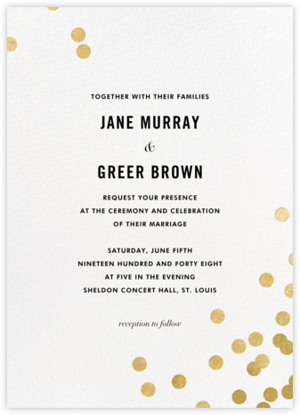 Confetti (Invitation) - White/Gold - kate spade new york - kate spade new york