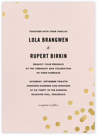 Confetti (Invitation) - Blush/Gold - kate spade new york - Wedding Invitations