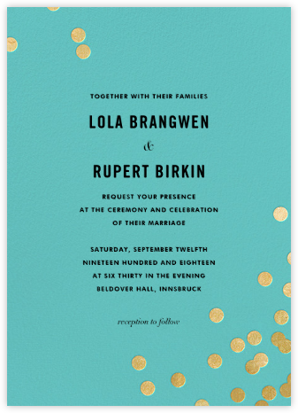 Confetti (Invitation) - Aqua/Gold | null