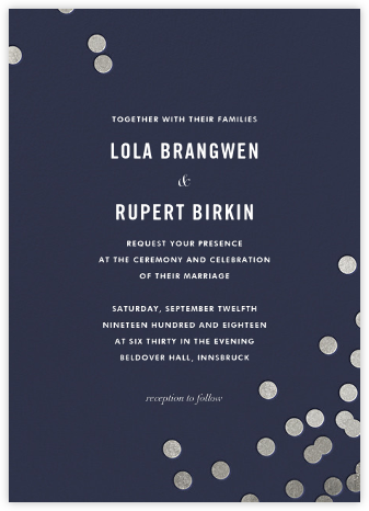 Confetti (Invitation) - Navy/Silver - kate spade new york - Wedding Invitations