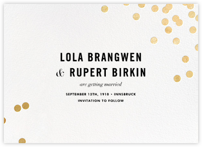 Confetti (Save the Date) - White/Gold - kate spade new york - Before the invitation cards