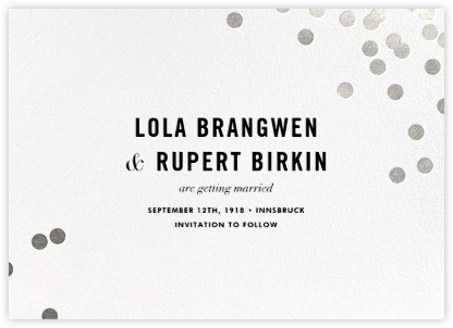Confetti (Save the Date) - White/Silver - kate spade new york - Before the invitation cards