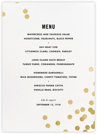 Confetti (Menu) - White/Gold - kate spade new york - Wedding menus and programs - available in paper
