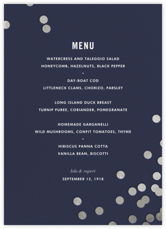 Confetti (Menu) - Navy/Silver - kate spade new york - Wedding menus and programs - available in paper