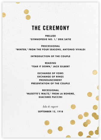 Confetti (Program) - White/Gold - kate spade new york - Kate Spade invitations, save the dates, and cards