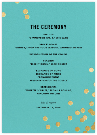 Confetti (Program) - Aqua/Gold - kate spade new york - Wedding menus and programs - available in paper
