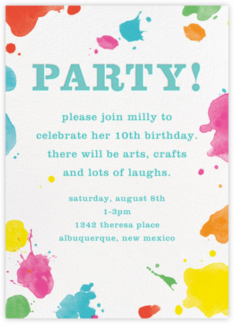 Splatter Paint - Aqua - kate spade new york - Online Kids' Birthday Invitations