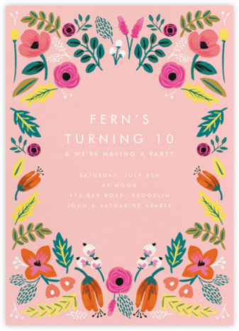Folk Floral - Pink - Rifle Paper Co. - Online Kids' Birthday Invitations