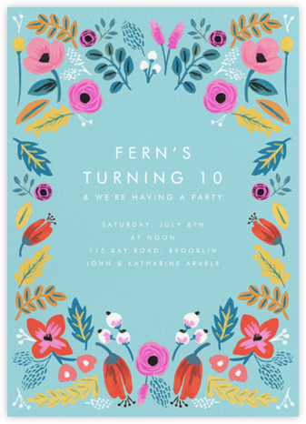 Folk Floral - Blue - Rifle Paper Co. - Online Kids' Birthday Invitations