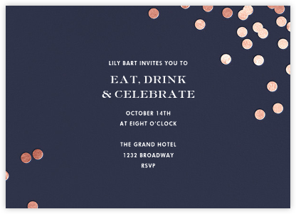 Confetti - Navy/Rose Gold - kate spade new york - Dinner Party Invitations