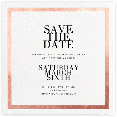 Editorial II (Save the Date) - White/Rose Gold - Paperless Post - Save the dates