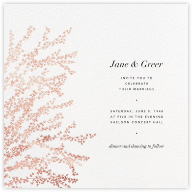 Forsythia - White/Rose Gold - Paperless Post - Wedding Invitations