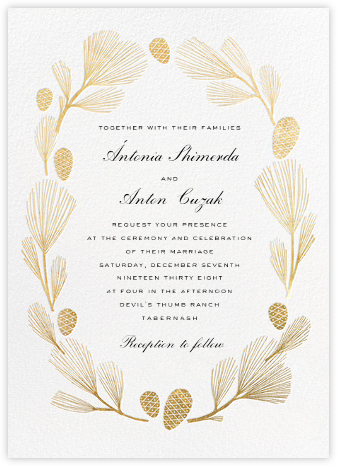 Sugar Pine - Ivory/Gold - Paperless Post - Wedding invitations