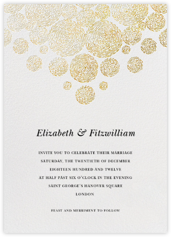 Radiant Swirls (Invitation) - Gold - Oscar de la Renta - Wedding Invitations