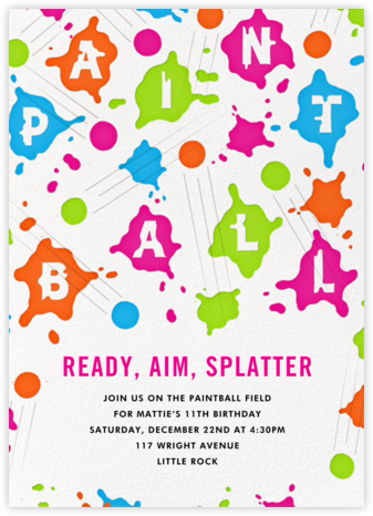 Splat Attack - Paperless Post - Online Kids' Birthday Invitations