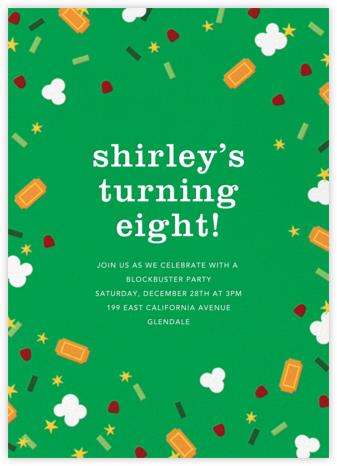 Filmfetti - Green - Paperless Post - Online Kids' Birthday Invitations