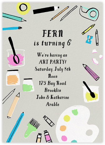 Arty Party - Hello!Lucky - Birthday invitations