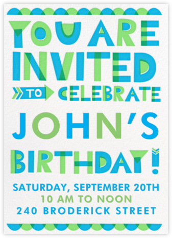 Cut Out for Partying - Green - Hello!Lucky - Online Kids' Birthday Invitations