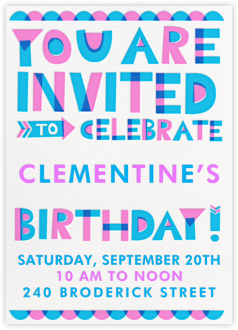 Cut Out for Partying - Pink - Hello!Lucky - Online Kids' Birthday Invitations