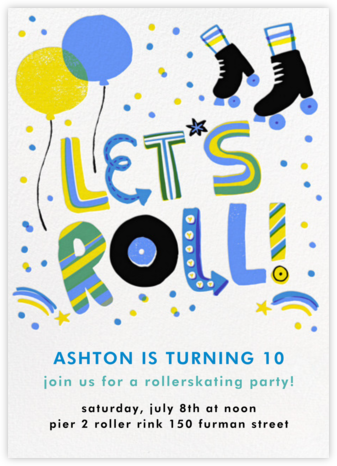Let's Roll - Blue - Hello!Lucky - Online Kids' Birthday Invitations
