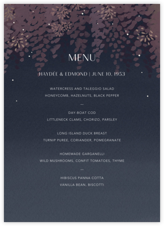 Violette (Menu) - Dusk - Paperless Post - Wedding menus and programs - available in paper