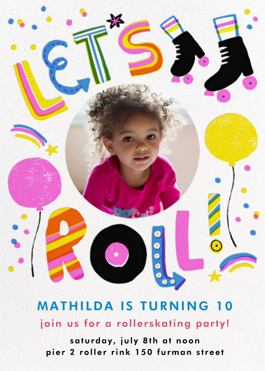 Let's Roll (Photo) - Pink - Hello!Lucky - Kids' birthday invitations